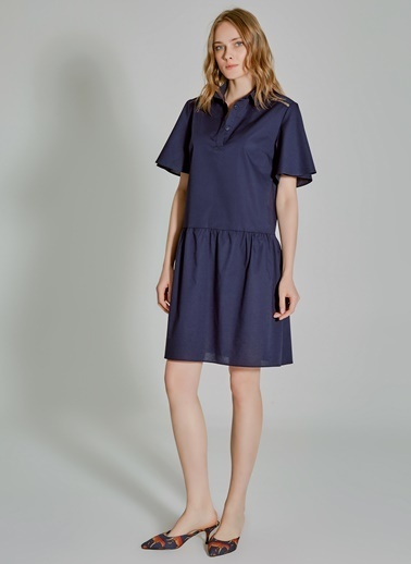 People By Fabrika Oversize Poplin Elbise Lacivert
